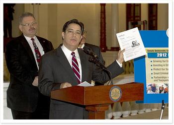 Sen. Costa outlines Sen. Democratic Budget priorities at a Capitol news conference.