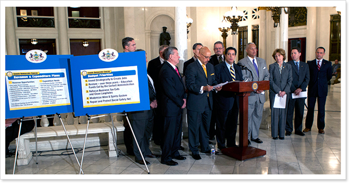 Senate Democrats Hold Press Conference to unveil budget priorites