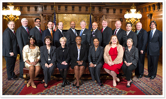 Sen. Jay Costa is pictured along with other Electoral College electors.  Costa is in the back row, third from the right