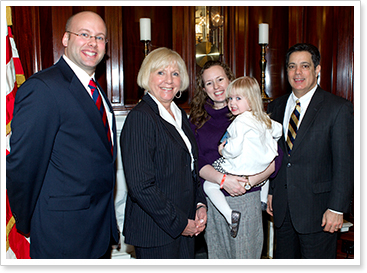 Russell Allen, Western and Central Pa Epilepsy Foundation Executive Director Judith Painter, Jennifer Allen and  Maggie Allen (being held)