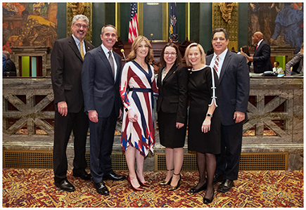 Pictured Left to Right: Sens. Tim Kearney, Steve Santarsiero, Katie Muth, Lindsey Williams, Maria Collett, and Jay Costa