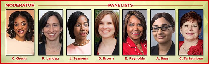 Cherri Gregg, Esq., Panel Moderator, Rue Landau, Esq., Jasmine Sessoms,    . Dr. Dana Brown, Councilwoman Blondell Reynolds Brown,Amal Bass, Esq. and Senator Christine Tartaglione