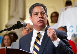 "June 4, 2019: Senator Jay Costa participates in rally led by the Pennsylvania Budget and Policy Center, advocates for a ""budget that puts people first""  to call for a minimum wage increase and other fiscal priorities that benefit working families."