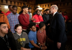 February 4, 2019: Senator Jay Costa and Gov. Tom Wolf welcome the 2018  state championships Penn Hills Football team to the capitol.