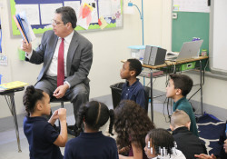 March 2, 2020: Sen. Costa reads to school children at Minadeo Elementary School and Edgewood Elementary STEAM Academy as part of Read Across America Day.