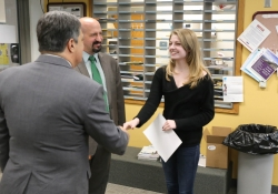 May 14, 2019: Senator Costa visits with teachers and students during his tour of Riverview Junior Senior High School in Oakmont.