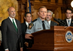 June 11, 2019: Senator Costa joins Governor Tom Wolf and Rep. Mike Sturla to introduce legislation that will charge municipalities a reasonable, per capita fee to use troopers as their primary source of law enforcement to assist in funding the State Police.