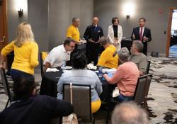 September 24, 2019: Sens. Costa, Hughes and Iovino speak to UFCW shop stewards in Harrisburg .