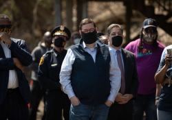 April 6, 2021:  Senator Costa joins members of the community at Quarry Field to condemn the horrible racist graffiti that was sprayed around the park.