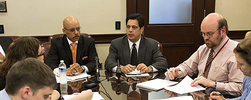 Senator Costa at a news conference