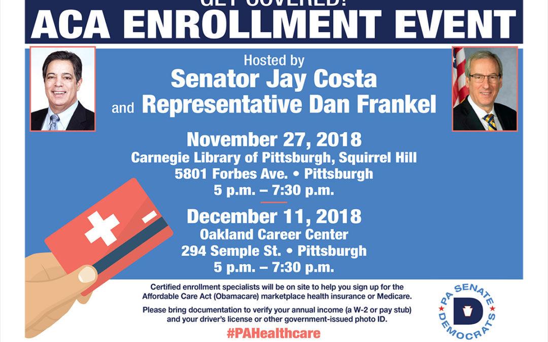 Sen. Costa & Rep. Frankel to Host Insurance Enrollment Events